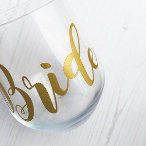 Stemless Bride Glass