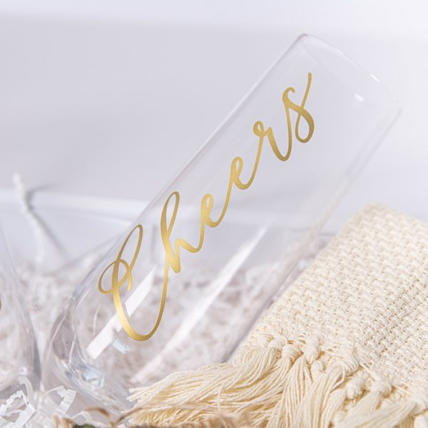 Stemless cheers glass