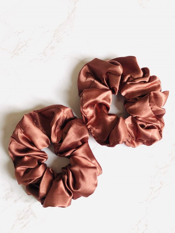 brown silk scrunchies