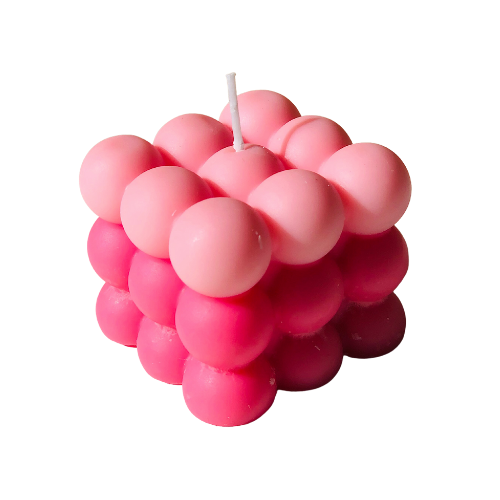 soy bubble candle pink