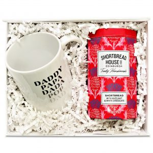 Fathers Day gift with a mug for dad and hazelnut shortbread biscuits