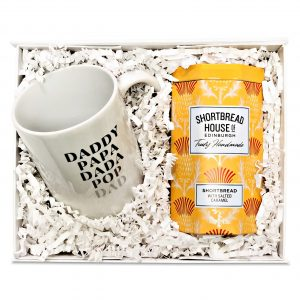 Gift basket with salted caramel shortbread and a mug for dad - Fathers Day gift box