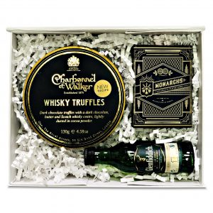 Whisky gift box with truffles, whisky and playing cards