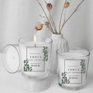 Botanical personalised candle favours